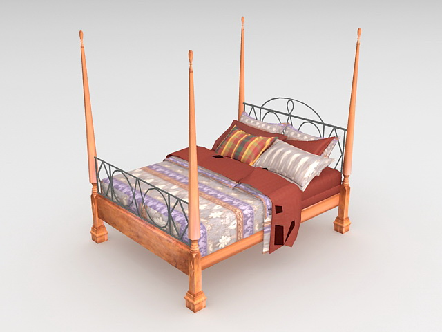 Traditional four poster bed 3d model 3ds max autocad files for Traditional four poster beds