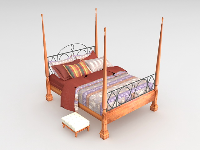 Traditional four poster bed 3d model