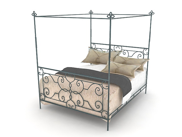 Wrought iron canopy bed 3d model