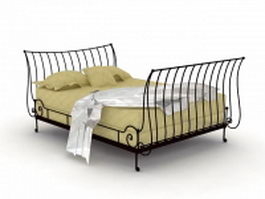 Mission style iron bed 3d model