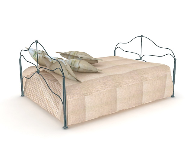 Contemporary Metal Bed 3d Model 3ds Max Autocad Files Free