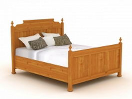 Antique wood bed 3d model