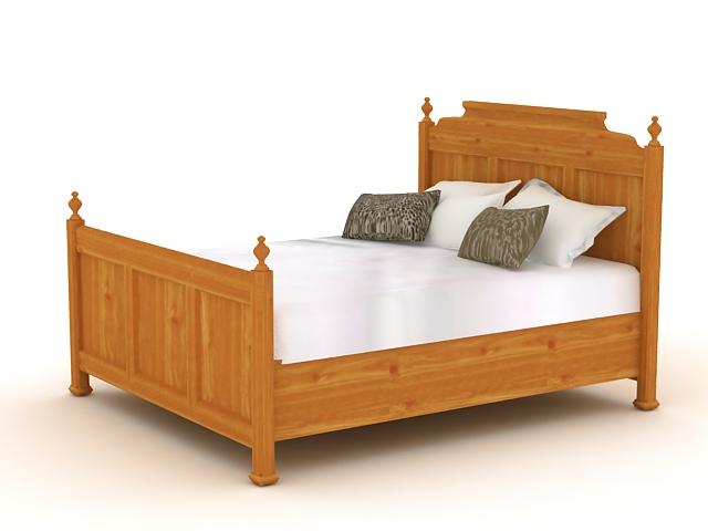 Antique wood bed 3d model