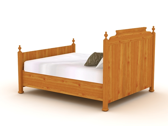 Antique wood bed 3d model 3ds max autocad files free for 3ds max bed model