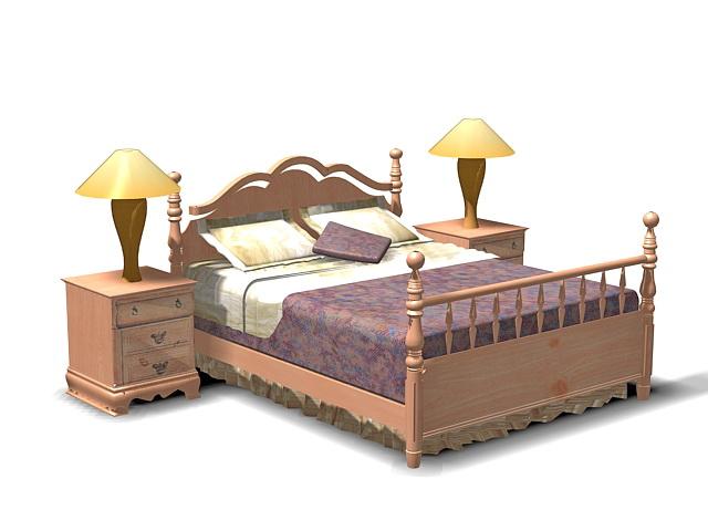 Antique wooden bedroom 3d model