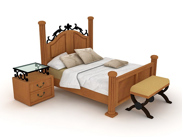 Wood and iron sleigh bed 3d model