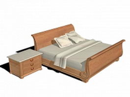 Wood sleigh bed 3d model
