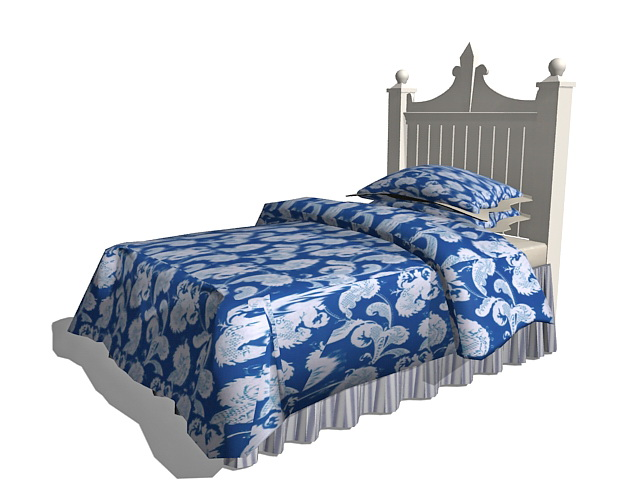 White kid bed 3d model 3ds max autocad files free download for 3ds max bed model