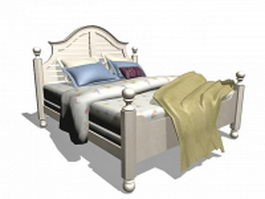 White wooden bed 3d model
