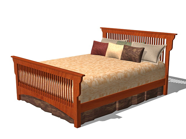 Vintage mission bed 3d model 3ds max autocad files free for 3ds max bed model