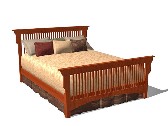 Vintage Mission bed 3d model