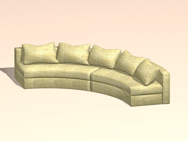 Curved Conversation Sofa 3d Model 3ds Max Autocad Files