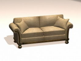 French settee sofa 3d model