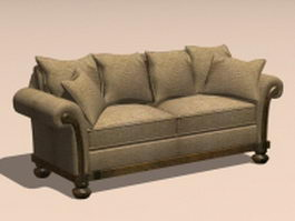 Vintage loveseat sofa 3d model