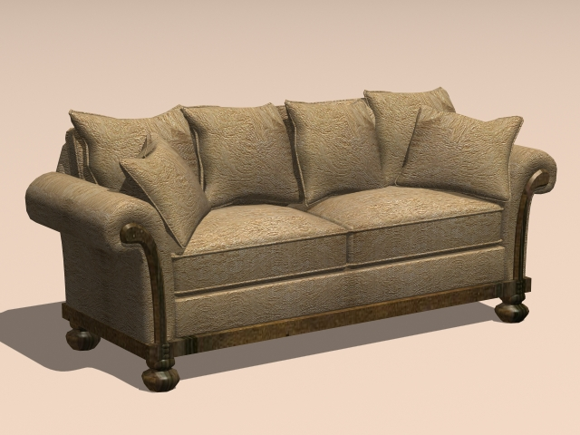Vintage Loveseat Sofa 3d Model 3ds Max Autocad Files Free