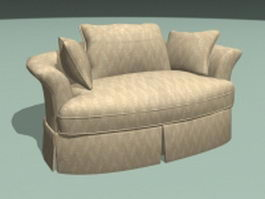 Fabric sofa loveseat 3d model