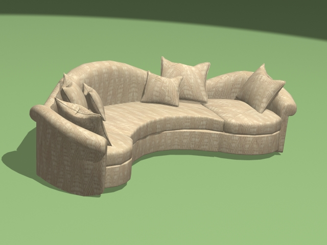 Modern Curved Sectional Sofa 3d Model 3ds Max Autocad