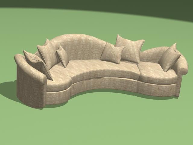 Modern curved sectional sofa 3d model - CadNav