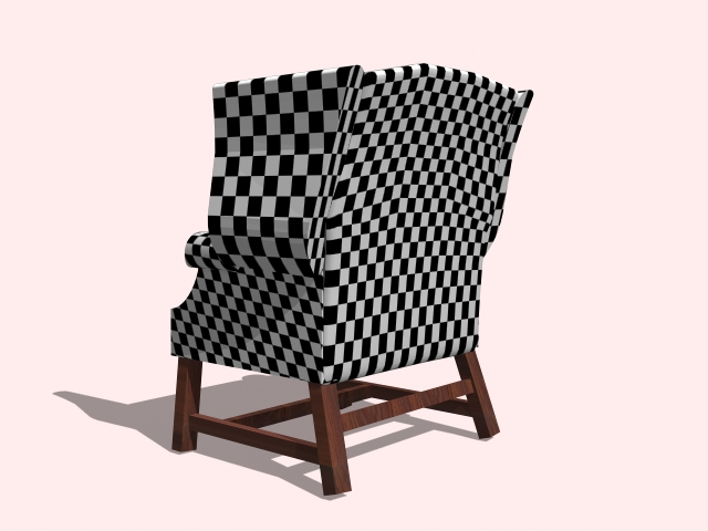 Plaid Wingback Chair 3d Model 3ds Max Autocad Files Free
