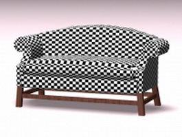 Plaid settee sofa 3d model