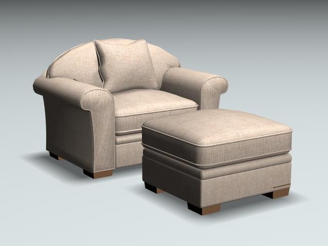 Awe Inspiring Fabric Armchair And Ottoman 3D Model Cadnav Short Links Chair Design For Home Short Linksinfo