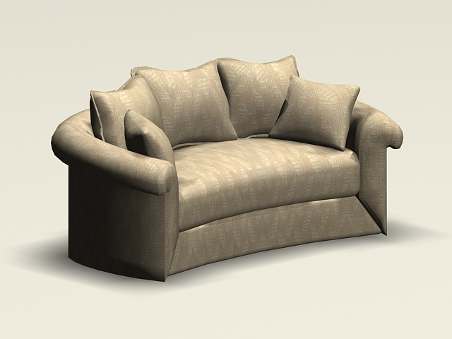 Curved Loveseat 3d Model 3ds Max Autocad Files Free