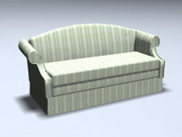 High back settee sofa 3d model