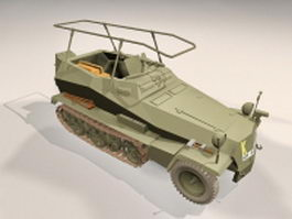 Sdkfz 250 light armoured halftrack 3d model