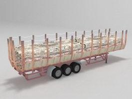 Forestry trailer truck 3d model