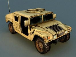 Old Hummer H1 with damaged 3d model