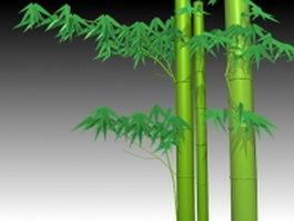 Bamboo stem with leaves 3d model