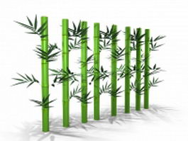 Bamboo stems with leaves 3d model