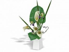 Calla lily vase arrangements 3d model