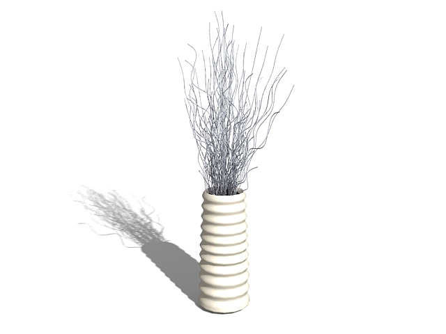 Decorative Vase With Sticks 3d Model 3ds Max Files Free