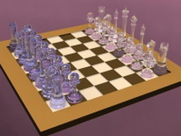 Crystal chess set 3d model