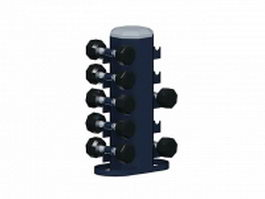 Dumbbell weight set with rack 3d model