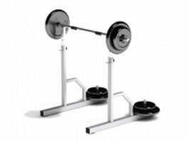 Squat rack barbell weights 3d model