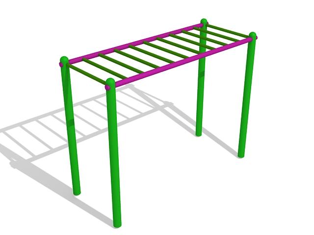 Monkey bar playground equipment 3d rendering