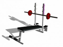 Barbell weight set and bench 3d model