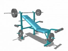 Combination weight bench set 3d model