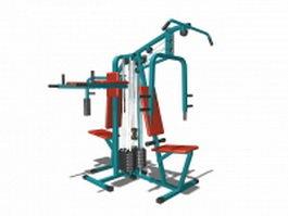 Multi station gym equipment 3d model