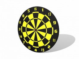 Yellow and black dart board 3d model
