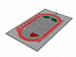 Track and field stadium 3d model