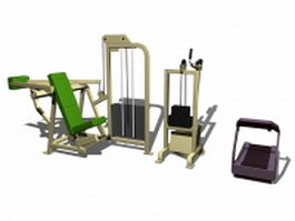 Gym equipment collection 3d model