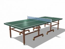 Wooden ping pong table 3d model