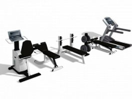 Gym exercise equipment collection 3d model