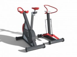 Stationary bike and stepper 3d model