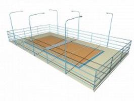 Tennis court construction 3d model