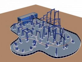 Amusement park roller coaster 3d model