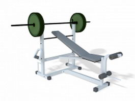 Bench press set 3d model